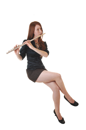 Young Lady Playing Flute