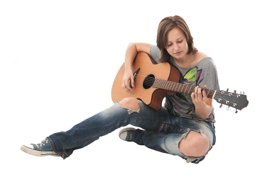 Young Lady Playing Guitar