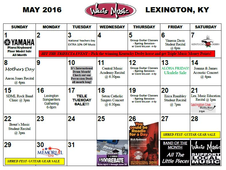 Calendar May Events : Lexington may calendar of events willis music