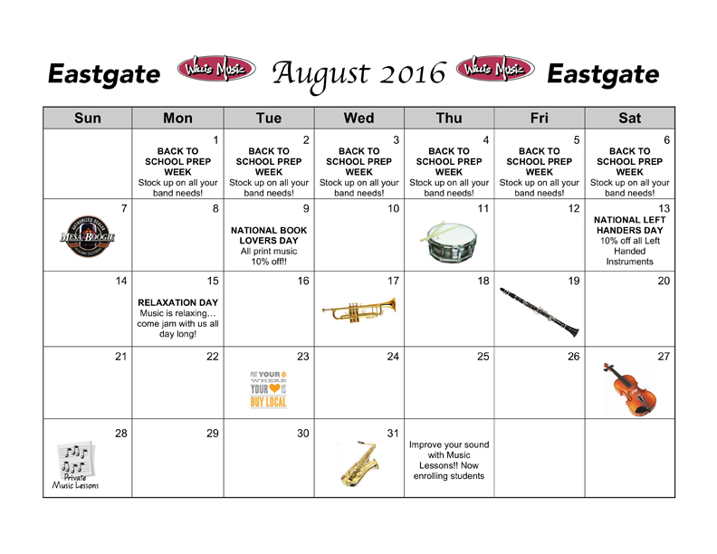 Eastgate August Calendar of Events