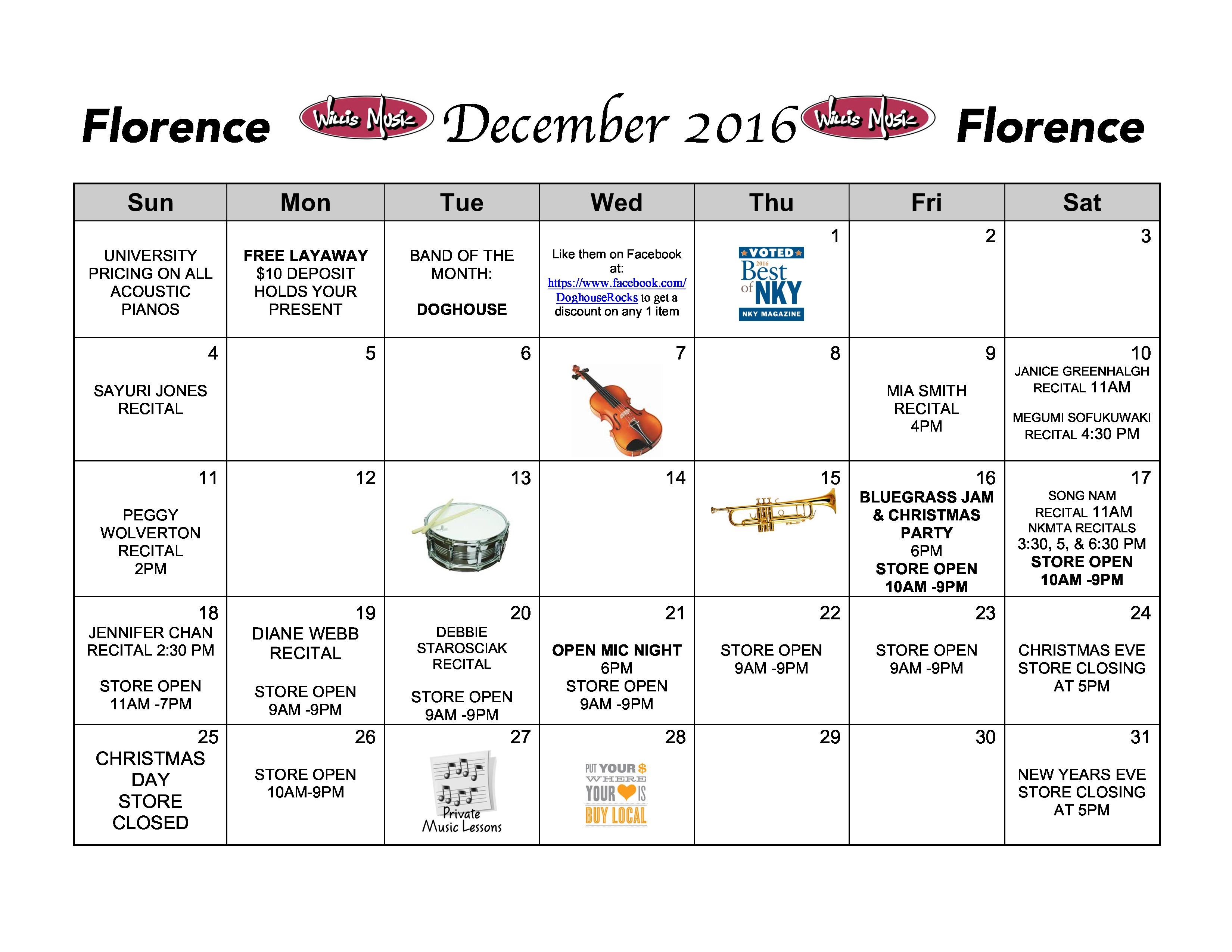 Florence December Calendar of Events - Willis Music