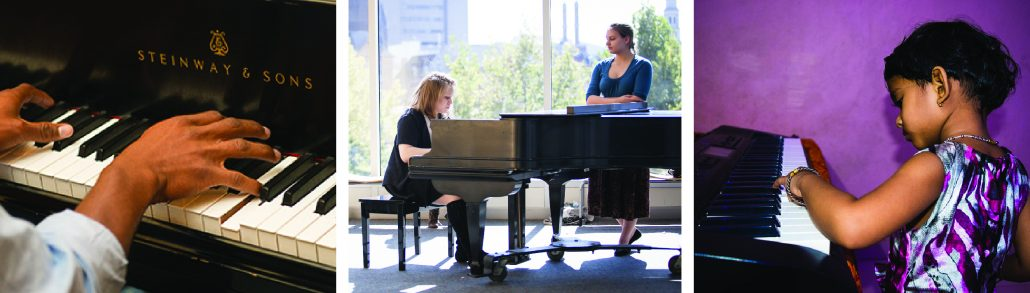 Banner of three images. Hands playing a Steinway piano, two women at a steinway piano, a little girl playing a steinway piano