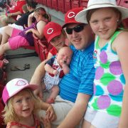 Chris with kids at the Reds game