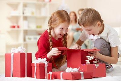 Children opening presents