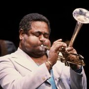 Dizzy Gillespie playing famous angled trumpet