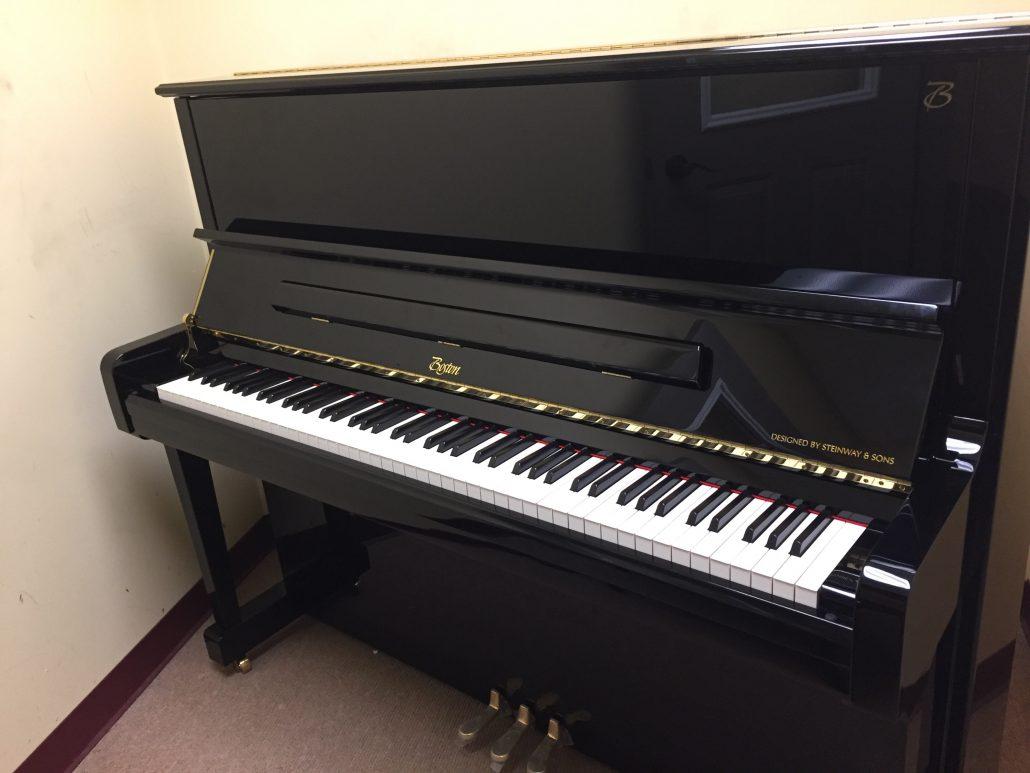 Studio used boston upright piano in ebony polished for Yamaha school of music lexington