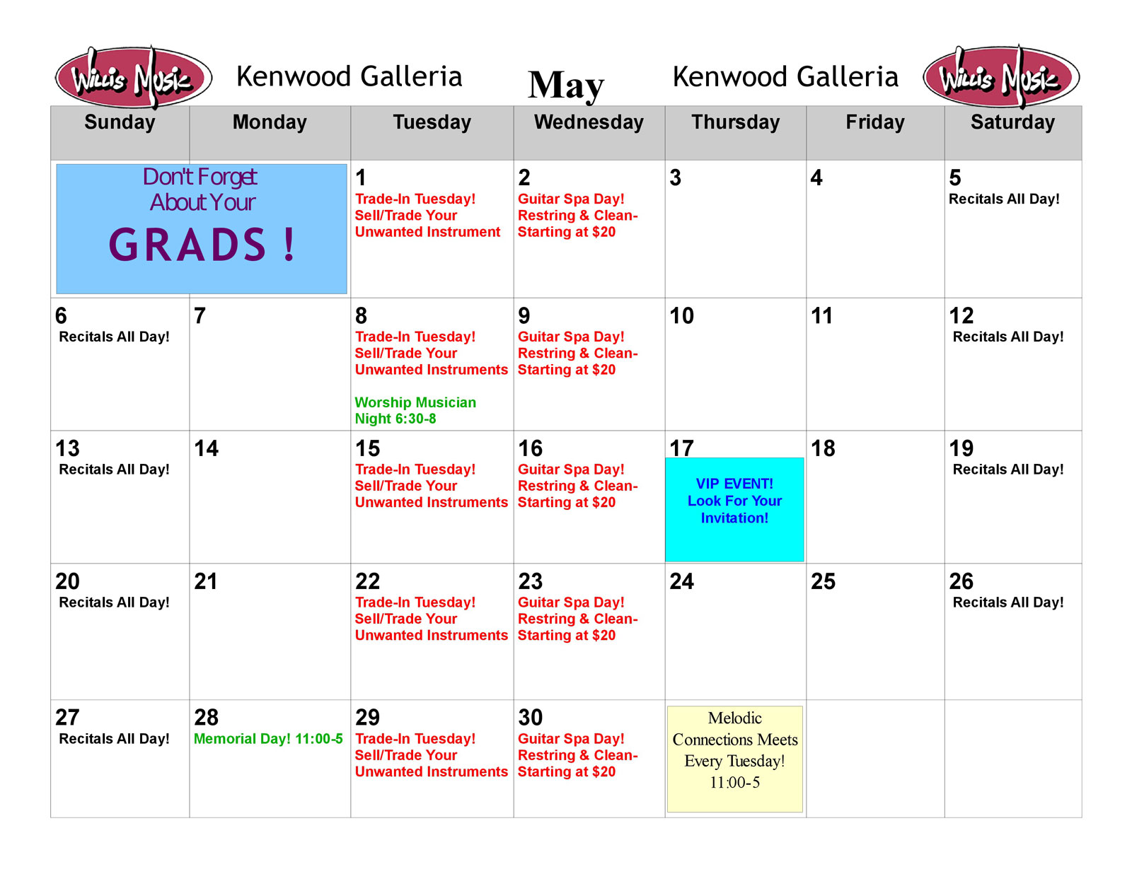 Kenwood May calendar of Events