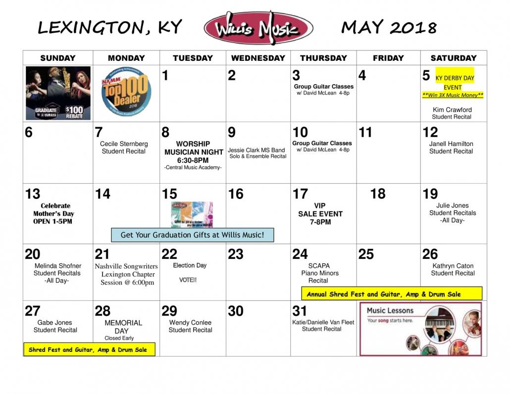 Lexington may calendar of events willis music for Yamaha school of music lexington