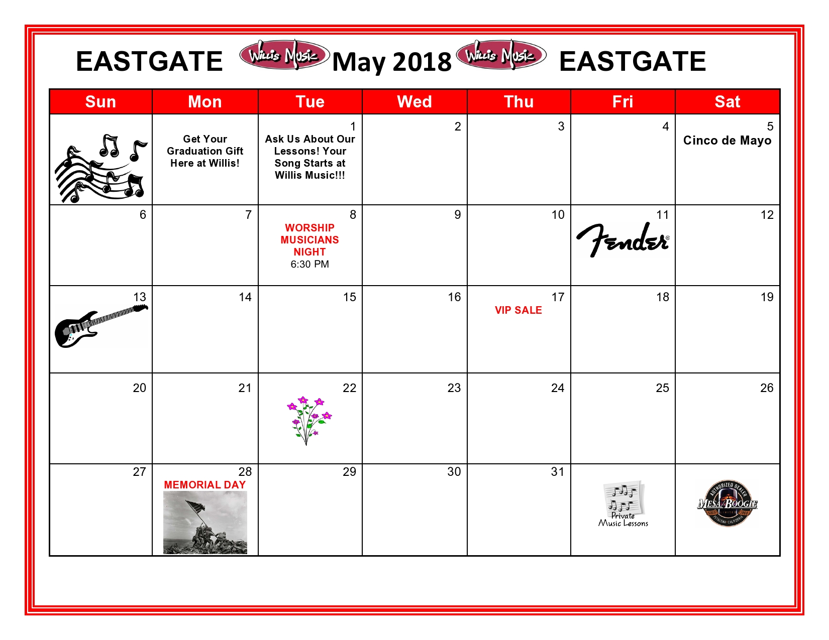 Eastgate May calendar of events
