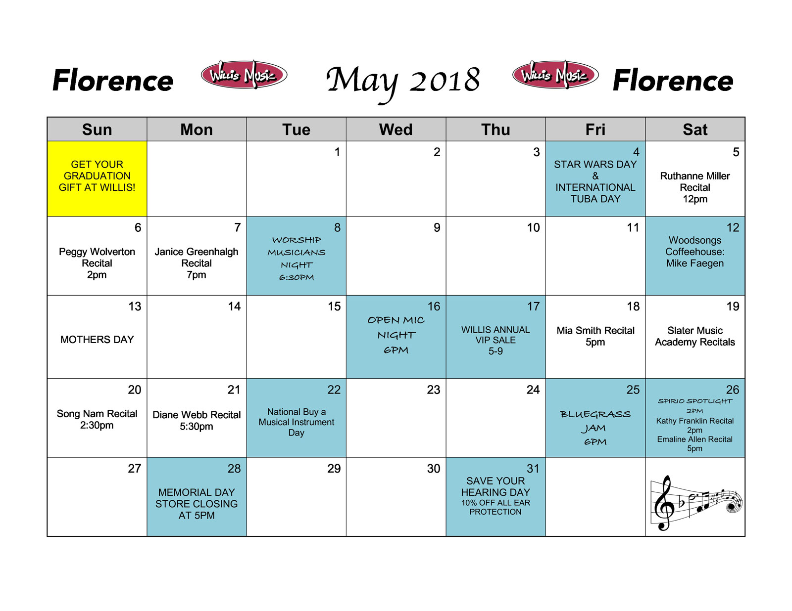 Florence May Calendar of events