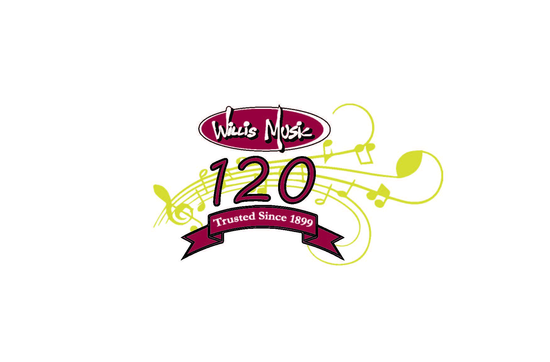 Willis Music 120 logo branding