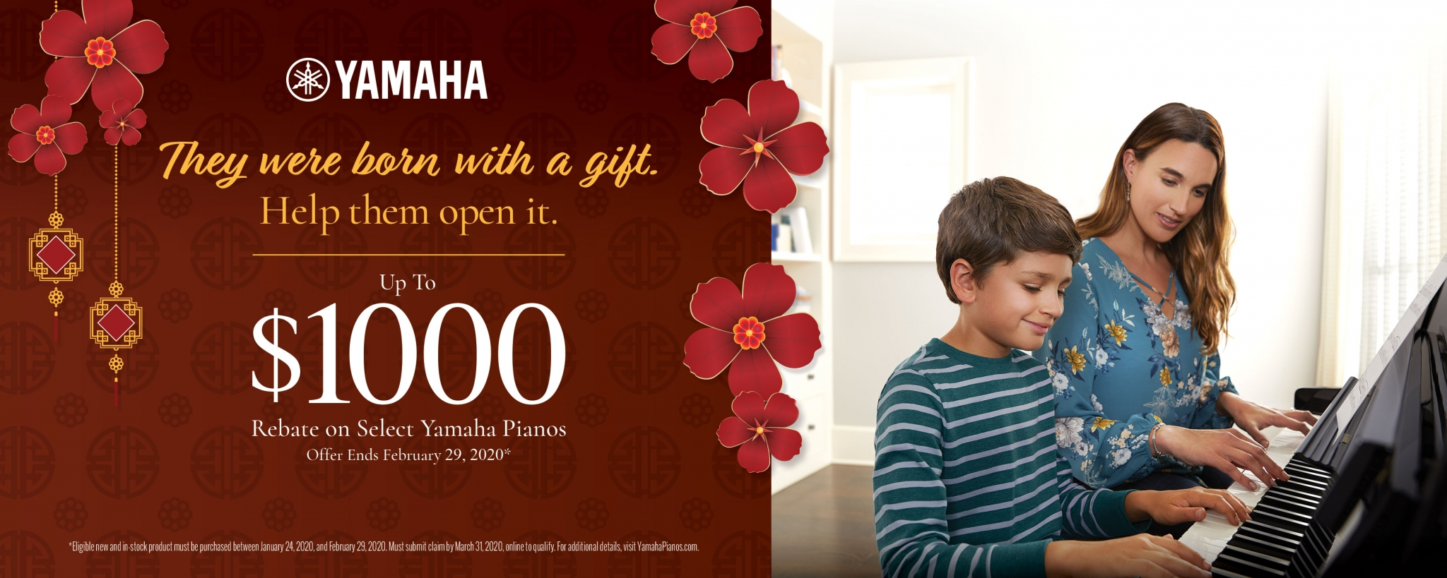 Yamaha They were born with a gift help them open it. Up to $1,000 REbate on Select Yamaha Pianos . Offer ends Feb. 29, 2020