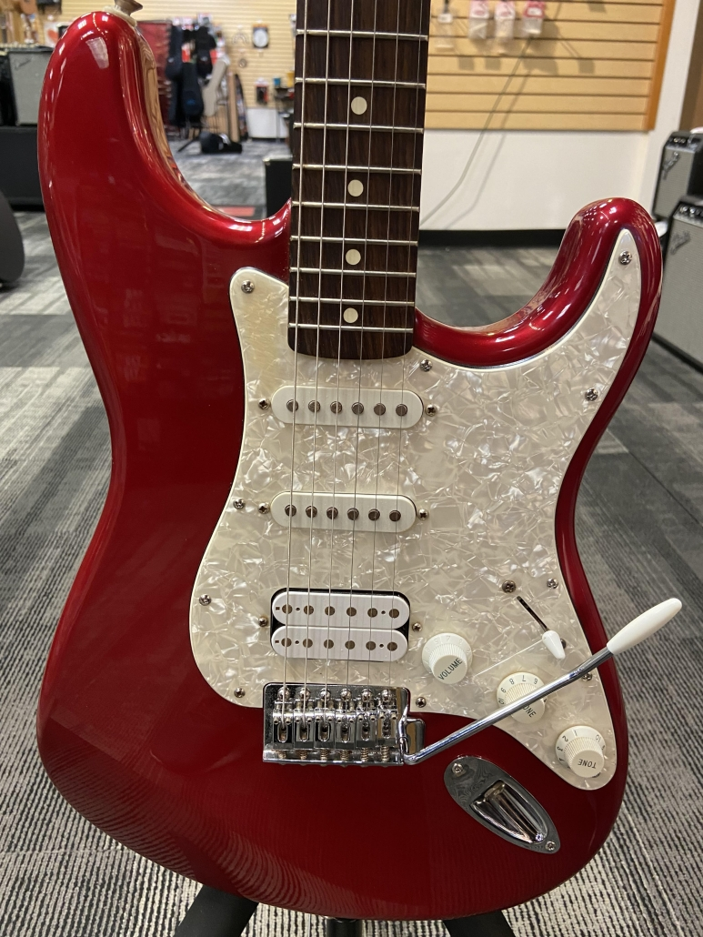 Used Mexican Fender HSS Stratocaster Candy Apple Red with Pearl Pickguard